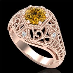 1.07 CTW Intense Fancy Yellow Diamond Engagement Art Deco Ring 18K Rose Gold - REF-254X5R - 37554