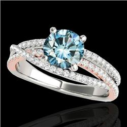 1.40 CTW SI Certified Fancy Blue Diamond Solitaire Ring 10K White & Rose Gold - REF-180A2V - 35545
