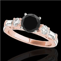 2 CTW Certified VS Black Diamond Pave Solitaire Ring 10K Rose Gold - REF-129V6Y - 35475