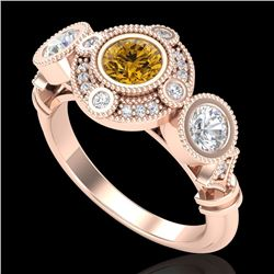 1.51 CTW Intense Fancy Yellow Diamond Art Deco 3 Stone Ring 18K Rose Gold - REF-218N2A - 37715