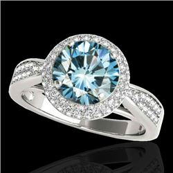 2.15 CTW SI Certified Fancy Blue Diamond Solitaire Halo Ring 10K White Gold - REF-263W6H - 34419