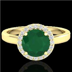 2 CTW Emerald & Halo VS/SI Diamond Micro Pave Ring Solitaire 18K Yellow Gold - REF-58H2M - 21629