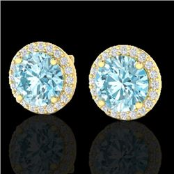 4 CTW Sky Blue Topaz & Halo VS/SI Diamond Micro Earrings Solitaire 18K Yellow Gold - REF-65Y8X - 214