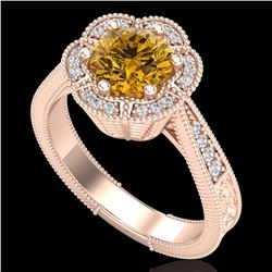 1.33 CTW Intense Fancy Yellow Diamond Engagement Art Deco Ring 18K Rose Gold - REF-227W3H - 37960