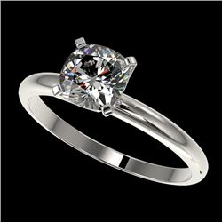 1 CTW Certified VS/SI Quality Cushion Cut Diamond Solitaire Ring 10K White Gold - REF-297M2F - 32900