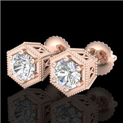 1.15 CTW VS/SI Diamond Solitaire Art Deco Stud Earrings 18K Rose Gold - REF-174N5A - 37218