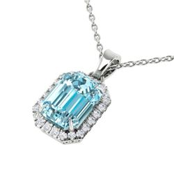 6 CTW Sky Blue Topaz And Micro Pave VS/SI Diamond Halo Necklace 18K White Gold - REF-51Y8X - 21353