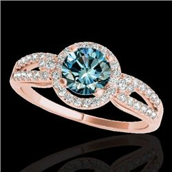 1.25 CTW SI Certified Fancy Blue Diamond Solitaire Halo Ring 10K Rose Gold - REF-161Y8X - 34093