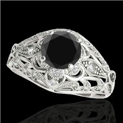 1.36 CTW Certified VS Black Diamond Solitaire Antique Ring 10K White Gold - REF-68R5K - 34714