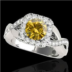 2 CTW Certified SI/I Fancy Intense Yellow Diamond Solitaire Halo Ring 10K White Gold - REF-345X5R -
