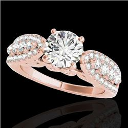 1.70 CTW H-SI/I Certified Diamond Solitaire Ring 10K Rose Gold - REF-180V2Y - 35260