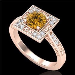 1.10 CTW Intense Fancy Yellow Diamond Engagement Art Deco Ring 18K Rose Gold - REF-140X9R - 38156
