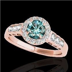 1.55 CTW SI Certified Fancy Blue Diamond Solitaire Halo Ring 10K Rose Gold - REF-180N2A - 34366