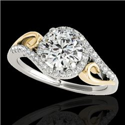 1.25 CTW H-SI/I Certified Diamond Solitaire Halo Ring 10K White & Yellow Gold - REF-155M5F - 34170