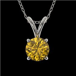 0.53 CTW Certified Intense Yellow SI Diamond Solitaire Necklace 10K White Gold - REF-70F5N - 36732