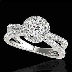 2 CTW H-SI/I Certified Diamond Solitaire Halo Ring 10K White Gold - REF-231V8Y - 33855