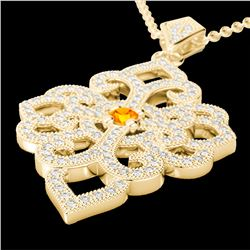 1.40 CTW Citrine & Micro Pave VS/SI Diamond Designer Necklace 14K Yellow Gold - REF-127H3M - 22554