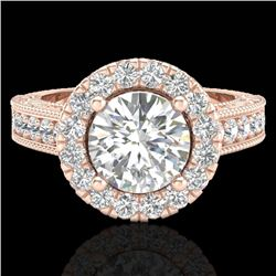 2.25 CTW Vintage VS/SI Diamond Engagement Halo Ring 14K Rose Gold - REF-541X8R - 21116