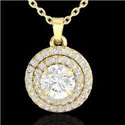 1 CTW Micro Pave VS/SI Diamond Solitaire Necklace Double Halo 18K Yellow Gold - REF-139K5W - 21543