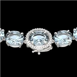 136 CTW Aquamarine & VS/SI Diamond Halo Micro Eternity Necklace 14K White Gold - REF-1363X6R - 22289