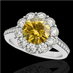 2 CTW Certified SI/I Fancy Intense Yellow Diamond Solitaire Halo Ring 10K White Gold - REF-199K5W -