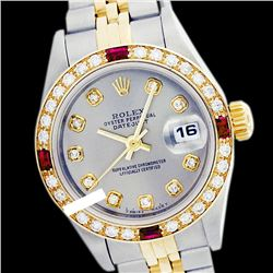 Rolex Men's Two Tone 14K Gold/SS, QuickSet, Diam Dial & Diam/Ruby Bezel - REF-557Y7X