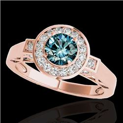 1.50 CTW SI Certified Fancy Blue Diamond Solitaire Halo Ring 10K Rose Gold - REF-180W2H - 34573