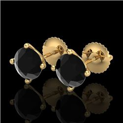 2 CTW Fancy Black Diamond Solitaire Art Deco Stud Earrings 18K Yellow Gold - REF-52R7K - 38243