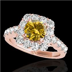 2.5 CTW Certified SI/I Fancy Intense Yellow Diamond Solitaire Halo Ring 10K Rose Gold - REF-212X7R -