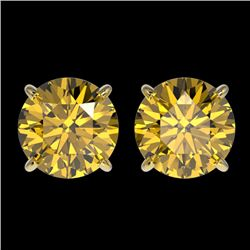 2.57 CTW Certified Intense Yellow SI Diamond Solitaire Stud Earrings 10K Yellow Gold - REF-427R5K -
