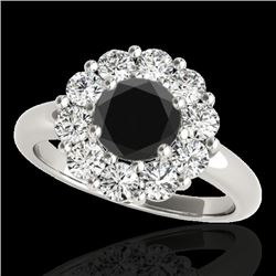 2.09 CTW Certified VS Black Diamond Solitaire Halo Ring 10K White Gold - REF-109R3K - 34426