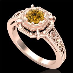 0.53 CTW Intense Fancy Yellow Diamond Engagement Art Deco Ring 18K Rose Gold - REF-109H3M - 37442