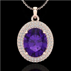 4 CTW Amethyst & Micro Pave VS/SI Diamond Certified Necklace 14K Rose Gold - REF-84A2V - 20550