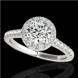1.70 CTW H-SI/I Certified Diamond Solitaire Halo Ring 10K White Gold - REF-343V6Y - 33589