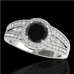 1.50 CTW Certified VS Black Diamond Solitaire Halo Ring 10K White Gold - REF-77M3F - 34072