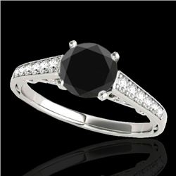1.35 CTW Certified VS Black Diamond Solitaire Ring 10K White Gold - REF-53K3W - 34910