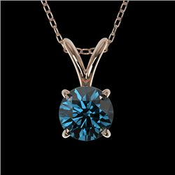 0.50 CTW Certified Intense Blue SI Diamond Solitaire Necklace 10K Rose Gold - REF-51K2W - 33160