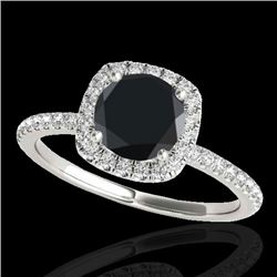 1.50 CTW Certified VS Black Diamond Solitaire Halo Ring 10K White Gold - REF-60A4V - 33337