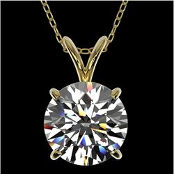 2 CTW Certified H-SI/I Quality Diamond Solitaire Necklace 10K Yellow Gold - REF-585N2A - 33232