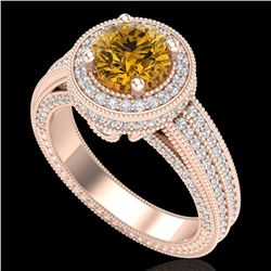 2.8 CTW Intense Fancy Yellow Diamond Engagement Art Deco Ring 18K Rose Gold - REF-327N3A - 38009