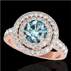 3 CTW SI Certified Blue Diamond Solitaire Halo Ring 10K Rose Gold - REF-331H8M - 34226