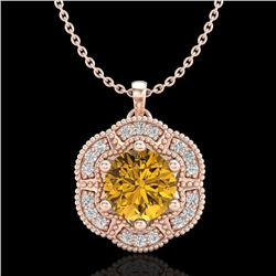 1.01 CTW Intense Fancy Yellow Diamond Art Deco Stud Necklace 18K Rose Gold - REF-136N4A - 37974