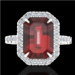 6.03 CTW Garnet And Micro Pave VS/SI Diamond Certified Halo Ring 18K White Gold - REF-62A2V - 21428