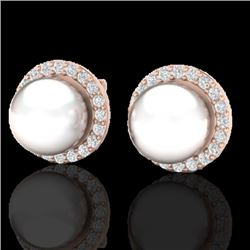 0.50 CTW Micro Pave Halo VS/SI Diamond Certified & Pearl Earrings 14K Rose Gold - REF-53F3N - 21505