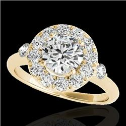 1.50 CTW H-SI/I Certified Diamond Solitaire Halo Ring 10K Yellow Gold - REF-180F2N - 33456