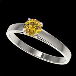 0.54 CTW Certified Intense Yellow SI Diamond Solitaire Engagement Ring 10K White Gold - REF-63R7K -