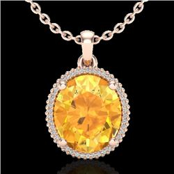 10 CTW Citrine & Micro Pave VS/SI Diamond Certified Halo Necklace 14K Rose Gold - REF-66F7N - 20606