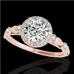 1.25 CTW H-SI/I Certified Diamond Solitaire Halo Ring 10K Rose Gold - REF-160F2N - 33617