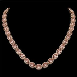 45.98 CTW Morganite & Diamond Necklace Rose Gold 10K Rose Gold - REF-850W9H - 40959