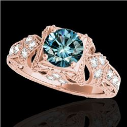 1.25 CTW SI Certified Blue Diamond Solitaire Antique Ring 10K Rose Gold - REF-172X7R - 34672
